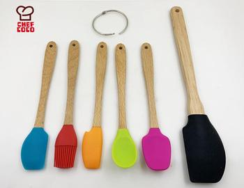Wholesale 6 Pieces Food Grade Silicone Cooking Utensils Set Kitchen Accessories Tools With Natural Wooden