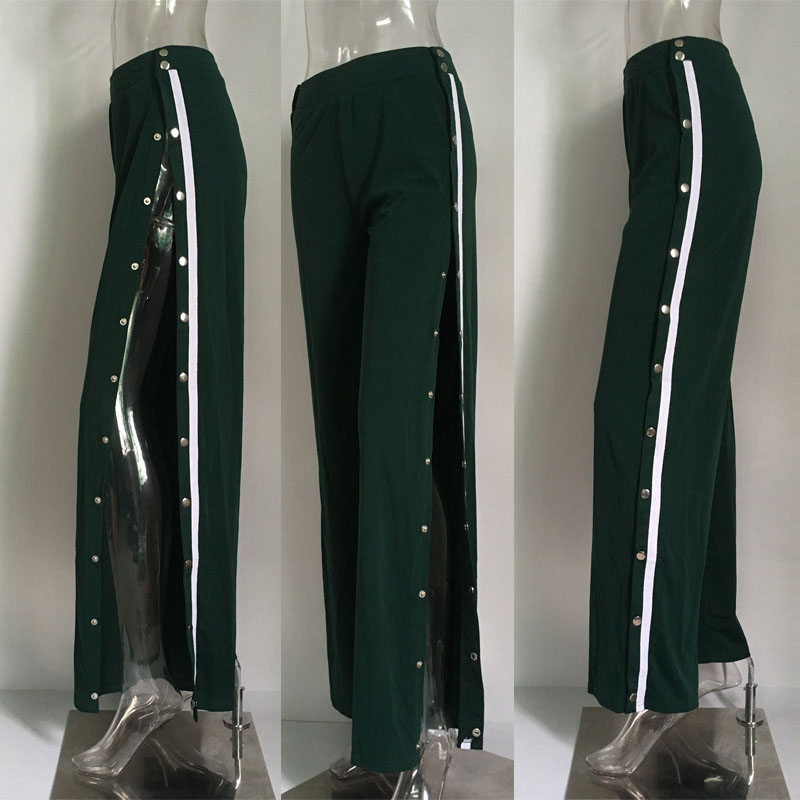 New women's fashion split button trousers wide leg pants