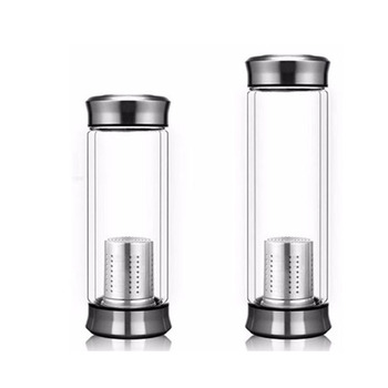 450ML High temperature drink loose leaf tea infuser double wall glass water bottle for fridge