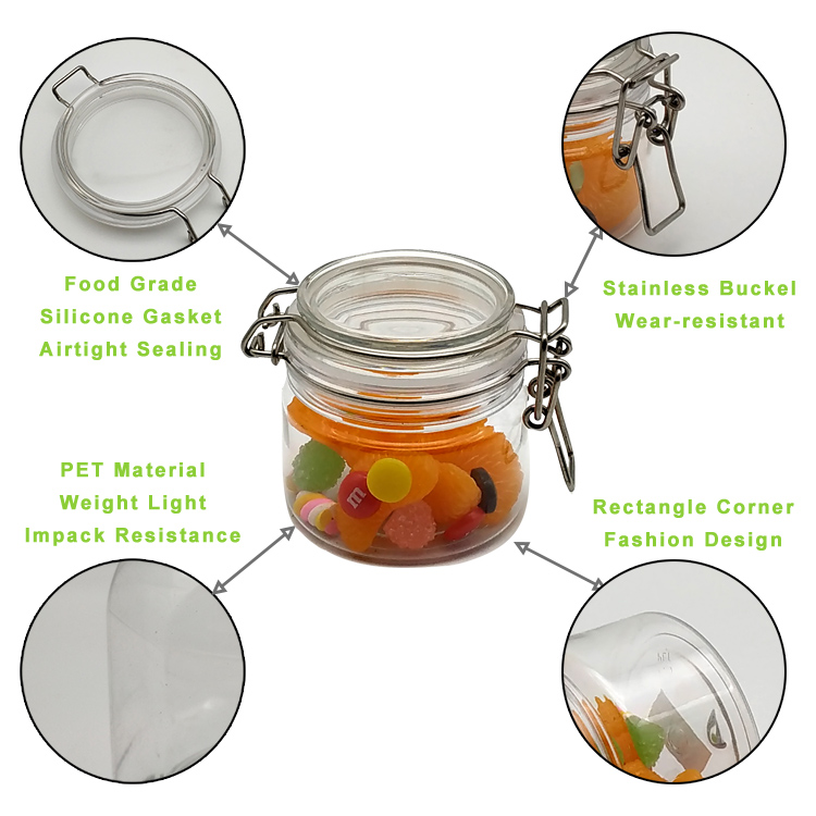 200ml(7 oz/8 oz) clear round glass jar with colorful silicone lid for cosmetic,food,snack,and tea storage