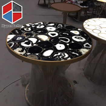 Black agate table for coffee shop and restaurant