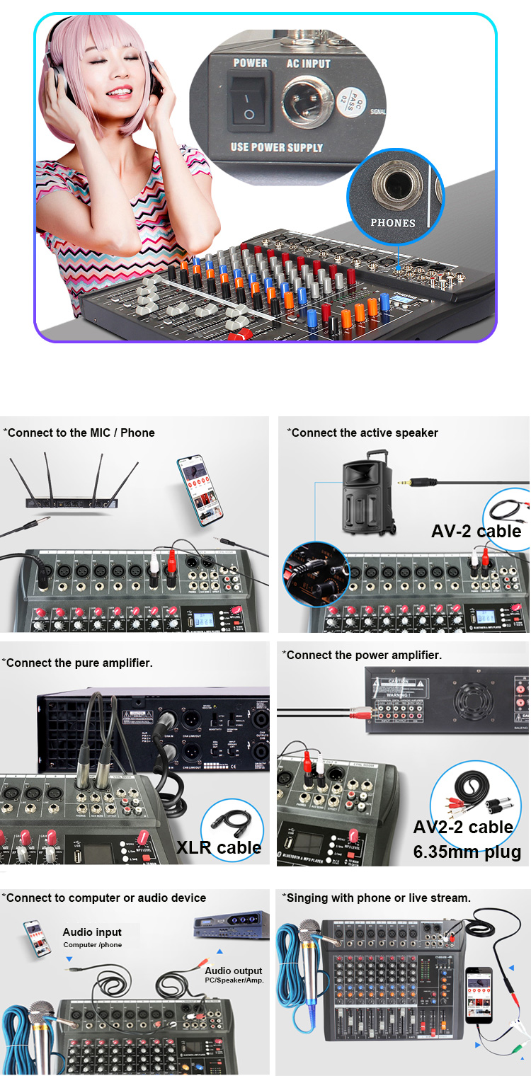 6 Channel Radio Bluetooth Live Mixer Audio Digital Profesional USB Mixer Audio Consoler