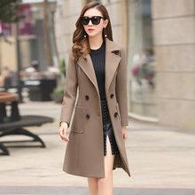 Шерстяное Женское пальто, длинное приталенное пальто, верхняя одежда 2020, новое осенне-зимнее пальто, Женское шерстяное пальто, куртка, одежд...(Китай)