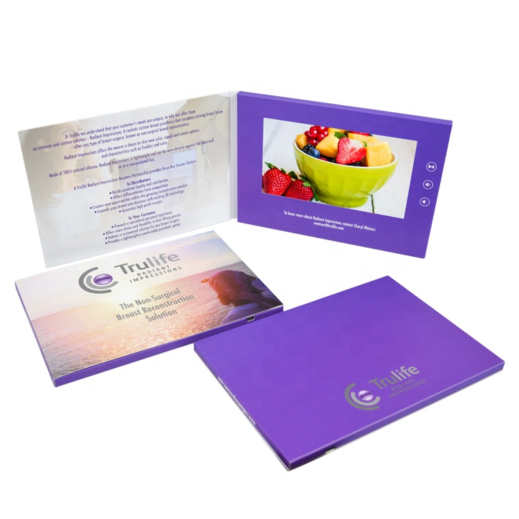 HD Digital Video Photo Gift Album and Brochure Cards for Wedding Invitation and Business Promotional
