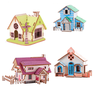 All different types of magic puzzle educational Brain Teaser Wood Toy 3d wooden house puzzle