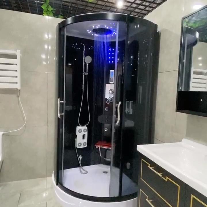 Transparente de cristal Puerta de baño acrílico moderno estilo ducha habitación cabaña con vapor y TV