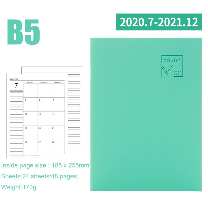 2020 год календарь ежемесячный планировщик месяцев ежедневный кожаный персональный ноутбук 2021 планировщик Органайзер бизнес офисные принад...(Китай)