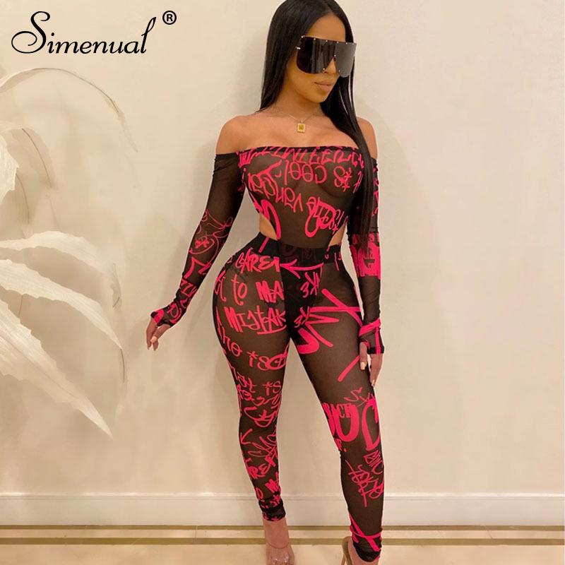Simenual сетчатый сексуальный прозрачный женский комплект с надписью, с открытыми плечами, комплект из 2 предметов, боди с длинным рукавом и шта...(Китай)