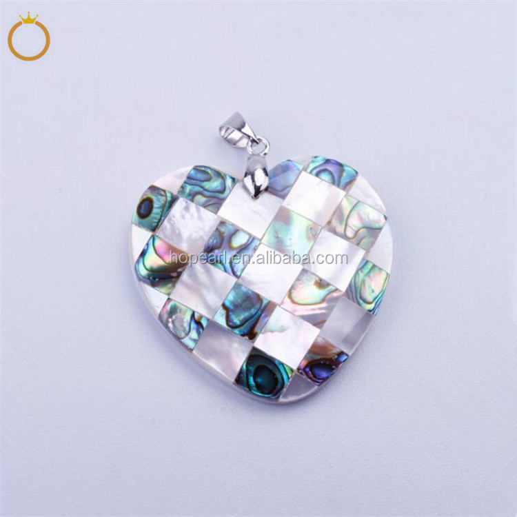 MOP52 Abalone Paua Shell with Natural White Shells Heart Pendant