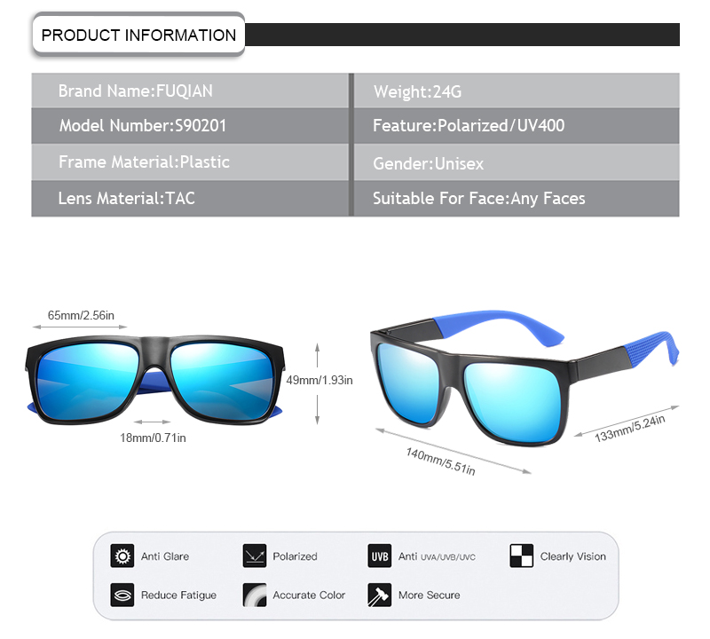 Fuqian men folding sunglasses fashion design for running-13