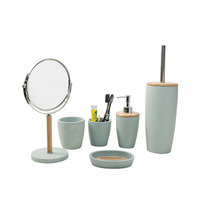 blue bathroom set with natural bamboo parts bathroom accessory
