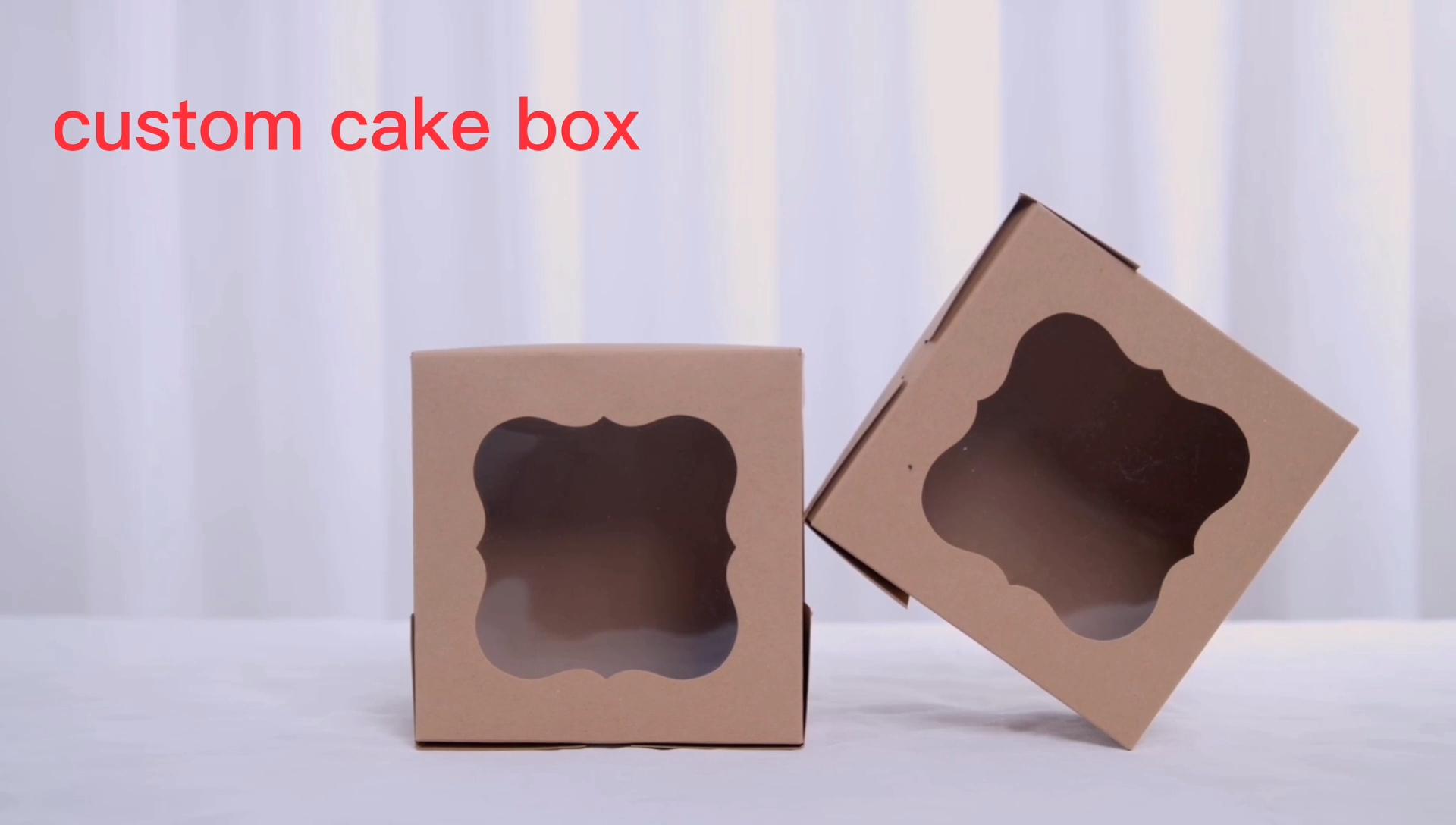 Toptan özel kek kutusu pembe kek kutuları toplu kek kutusu ile pencere