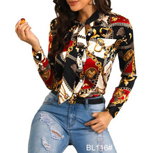Kantoor <span class=keywords><strong>Dames</strong></span> Elegante Ketting Print Shirt Blouses <span class=keywords><strong>Vrouwen</strong></span> Casual Shirts Lange Mouw <span class=keywords><strong>Blouse</strong></span> Turn-down Kraag Button Tops