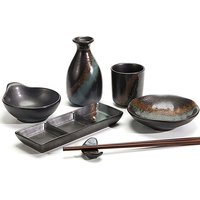 28 Ceramics Japanese Restaurant Used Hot Sale Factory Supplies Black Porcelain Dinnerware Sets for Hotel*