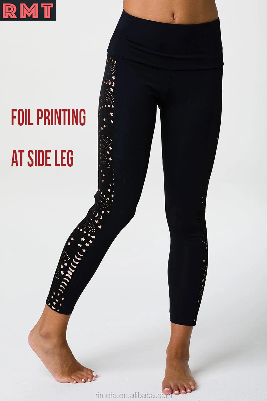 Wholesale High Stretch Fitness Yoga Wear Women Foil Print Leggings Women workout Yoga pants