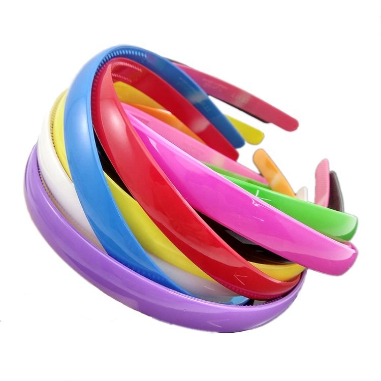 Colorful 2.5 cm Women Wide Plastic Headbands Hair Band With Teeth