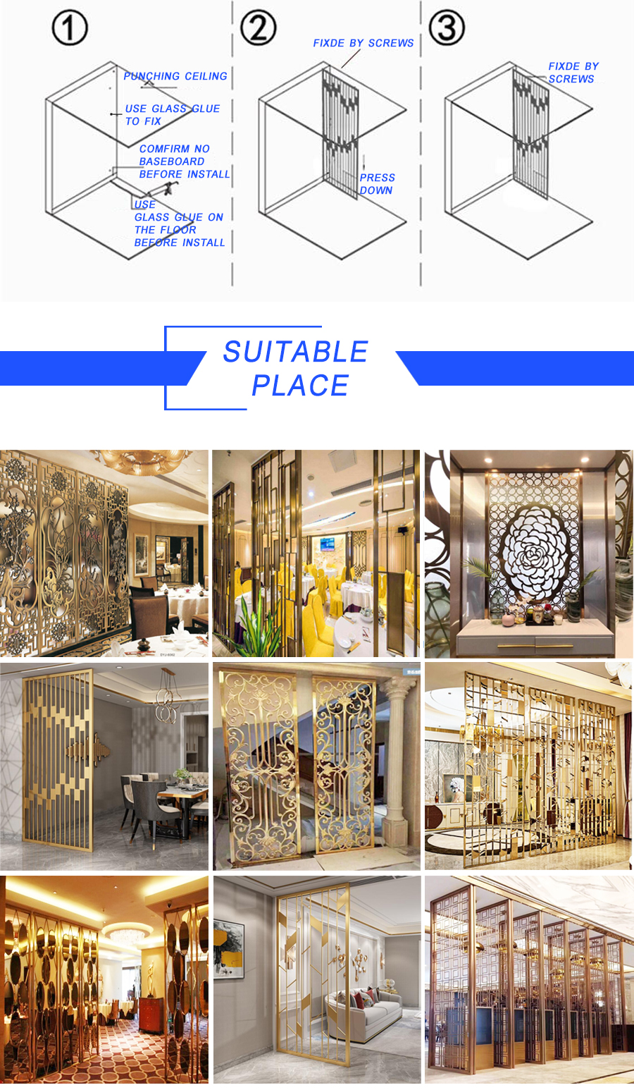 JYFI189  Stainless Steel Laser Cut Decorative Partition Screen Bedroom Hall And Dining Room Partition For Decorative