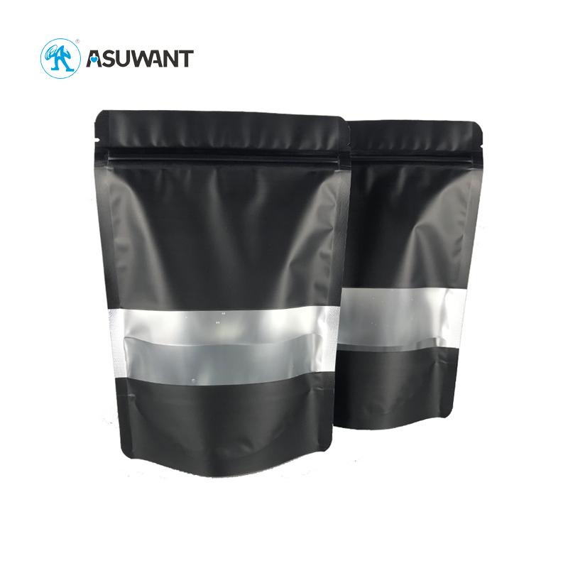 Matte Black Aluminum Foil Smell Proof Mylar Ziplock Plastic Coffee Bags with Clear Window