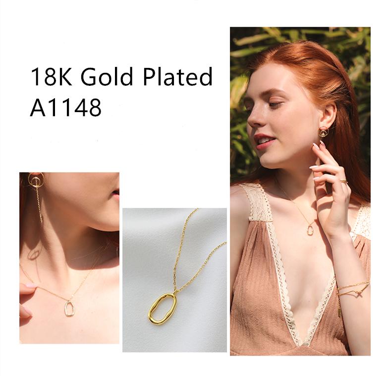 Atacado 925 prata esterlina jóias pingente oval 18k banhado a ouro colar de corrente para as mulheres