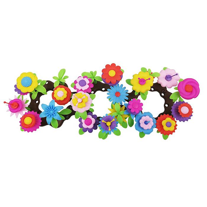 2020 Kids 133PCS Plastic Craft Flower 3D Block Handmade Assembling DIY Building Garden Educational Toys Set With Flower Pot