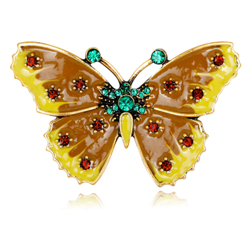Oil painting Van Gogh canola rape flower Retro Vintage enamel butterfly design insect animal brooch for ladies women party gift