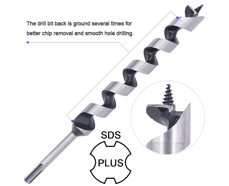 SDS Plus Shank Wood Auger Drill Bit for Wood Deep Clean Hole Drilling