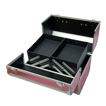portable pink metal aluminum makeup vanity box cosmetic travel hard case wholesale