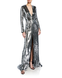 New Fashion Sequined Long Dress Sexy V-neck Long Sleeve Striped High Front Slit Ladies Gown