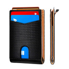 Amazon Hot Custom Men Carbon Fiber RFID Blocking Leather Wallet Credit Card Holder with Money Clip