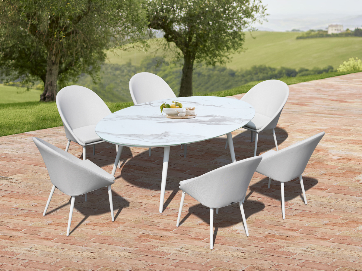 hotel Aluminum  Ceramic tempered glass patio outdoor  table chair garden outdoor furniture