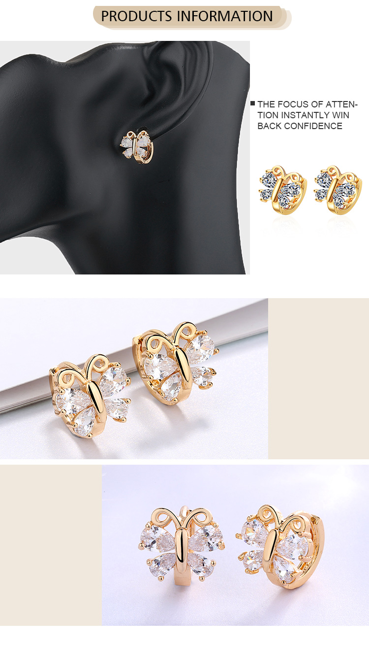 2019 Fashion Mini Ear Huggie Hoop Earrings Butterfly Zircon Cz Earrings For Women Gift