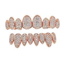 Хип-хоп ледяной зуб Grillz Pave CZ каменные верхние и нижние грили зубные рот Панк зубы шапки Косплей вечерние рэппер ювелирные изделия(Китай)