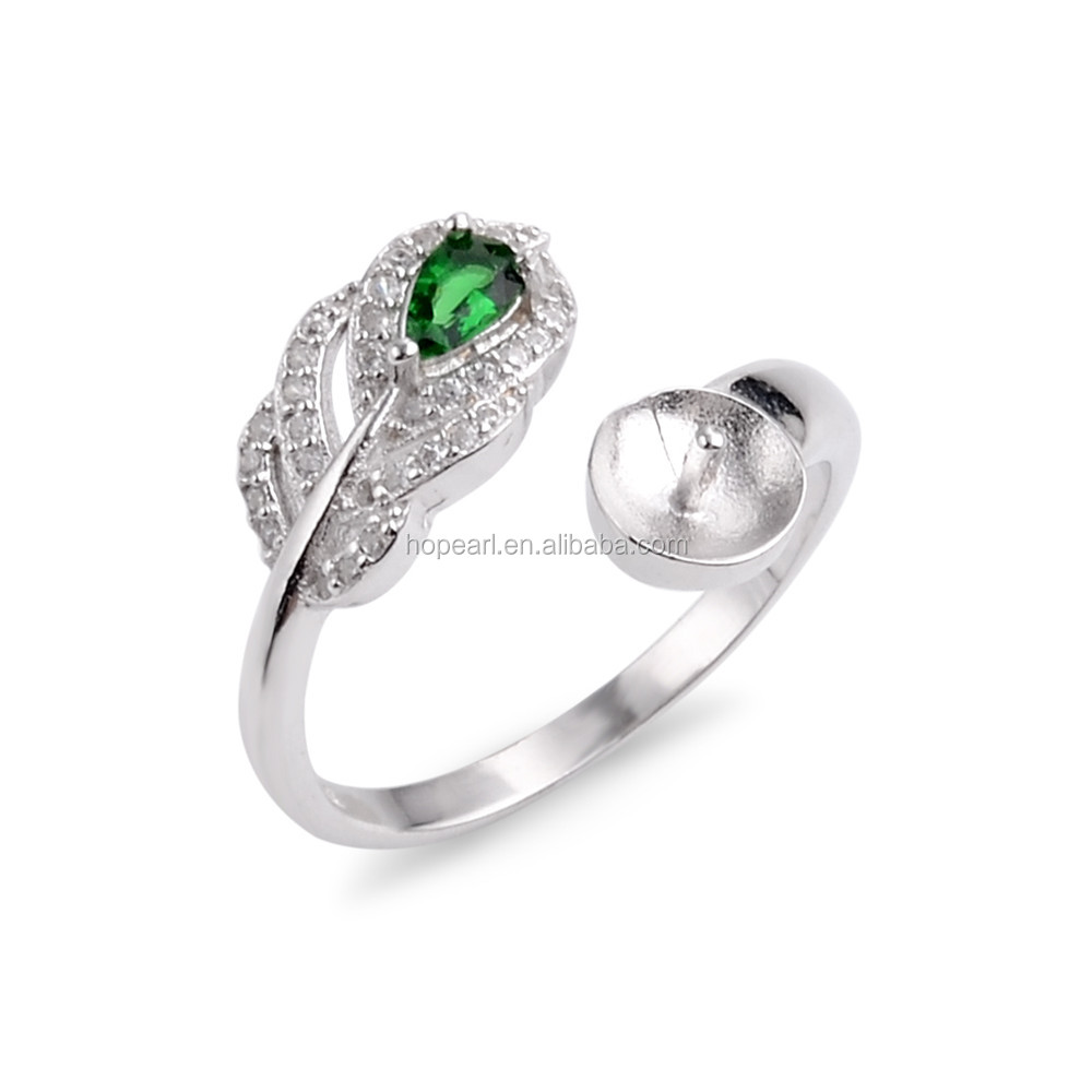 SSR234 Gorgeous Ring Pearl Mounts Leaf Design Jewelry Ring Findings Green Zircon 925 Sterling Silver