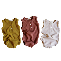 2020 Korean New Baby Sleeveless Onesie 100% Cotton clothes Simple Vest Rompers Baby