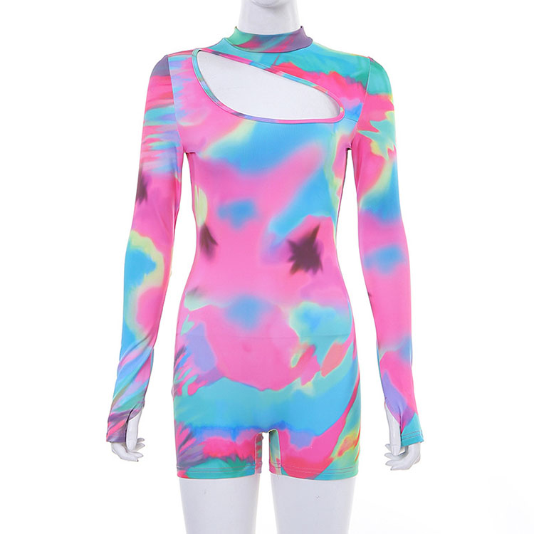 Tie die female joggers sport track racing custom yoga mesh full body sweat sexy one piece long sleeve lace women body suit