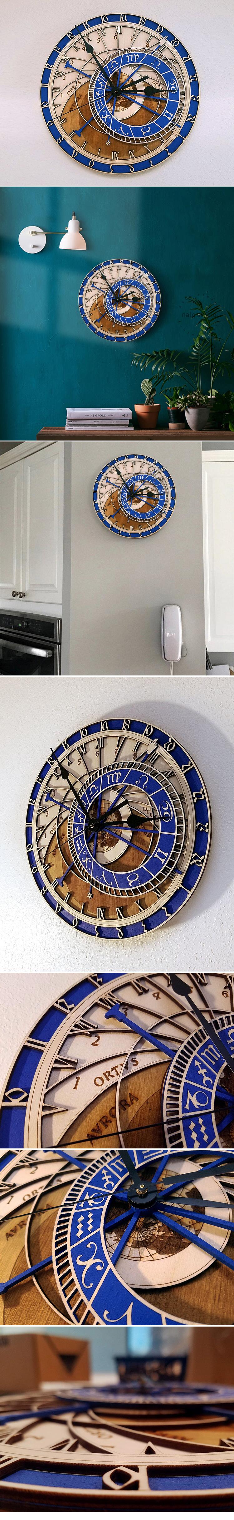 Praga orologio astronomico in legno repubblica ceca medievale astronomia orologio da parete hanging astrologia decorativo orologio da parete