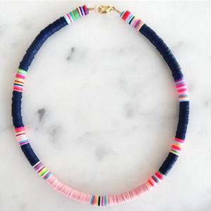 NC1069 Black and White Clay Heishi Necklace, Collier Polymer Clay Heishi Beads Summer Choker Necklace for Women