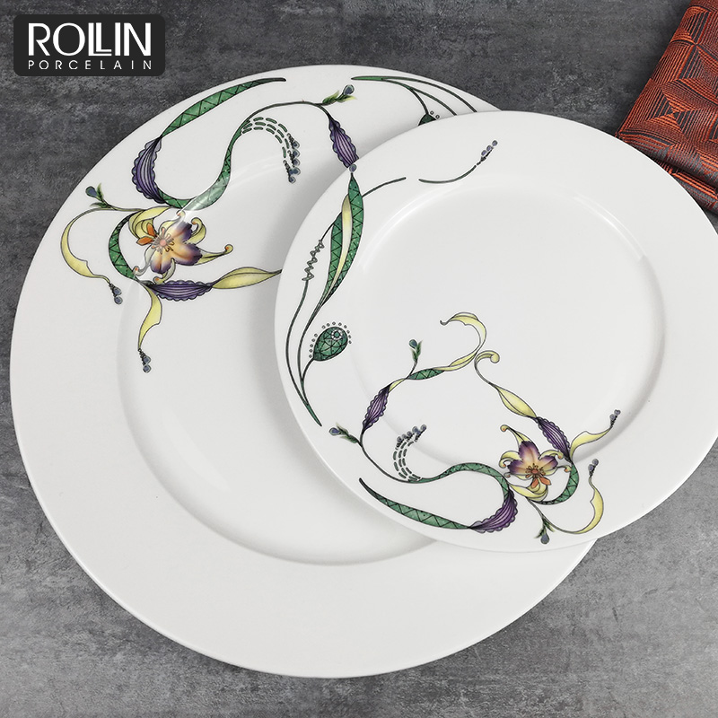 Personalized  Natural Flower Decal Luxury Porcelain Dinner Plates Set