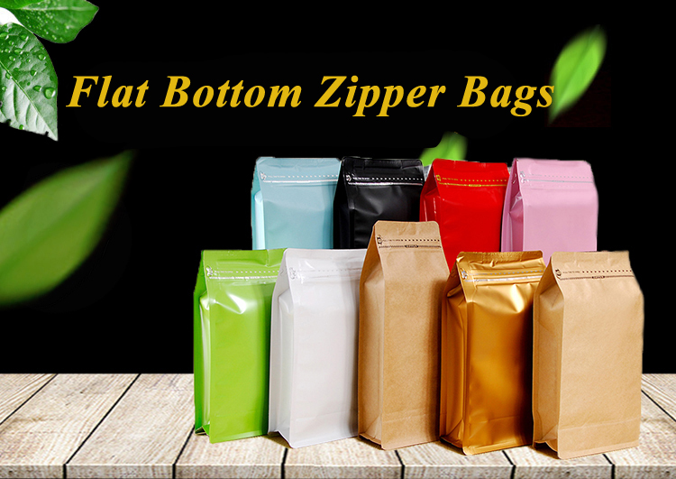 Food Grade Packaging One Pound Mylar Flat Bottom Biodegradable Coffee Bag