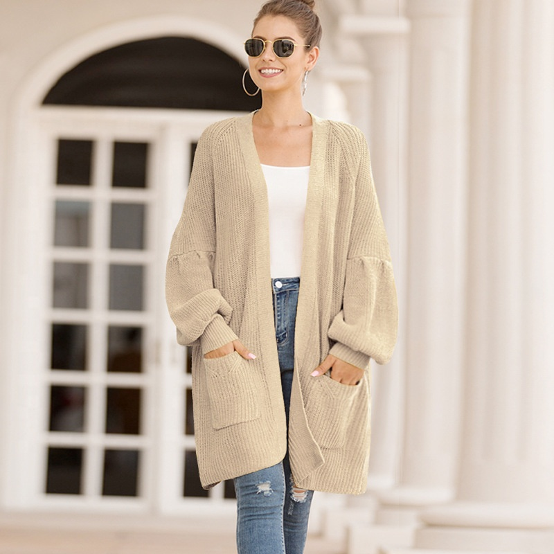 Ins Hot Design Women Winter Casual Solid Color Lantern Sleeve Oversized Knit <strong>Cardigan</strong>
