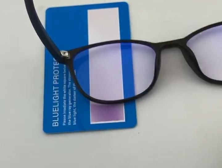 Gemi hazır özel Logo Anti mavi ışık engelleme ışık korumak mavi ışın engelleyici test cihazı test kartı ve lazer