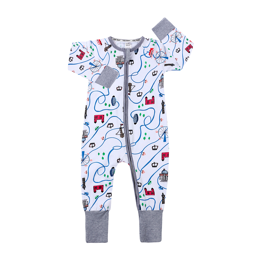 Kids Tales 2020 New Design Long Sleeve Zipped Floral O-neck Cartoon <strong>Baby</strong> onesie Romper <strong>Jumpsuit</strong>