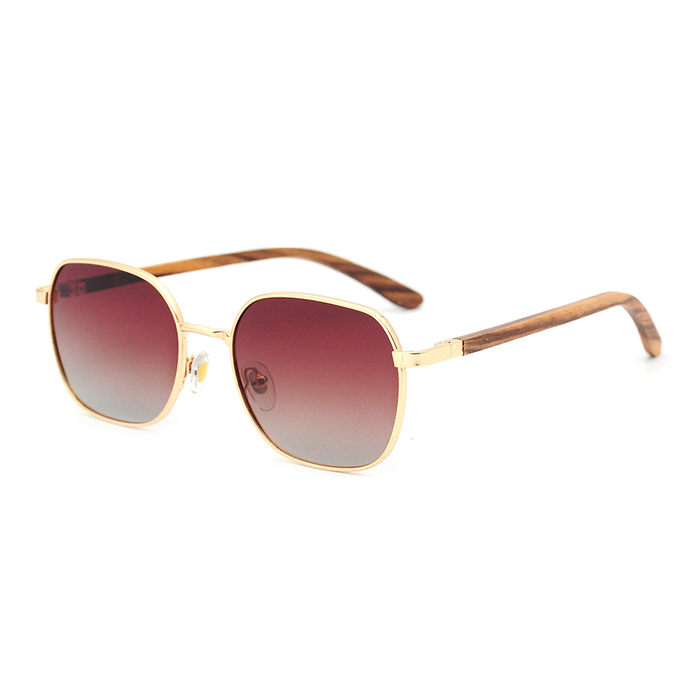 Metal frame custom logo unisex polarized  drop shipping wooden anti-blue light bamboo sunglasses