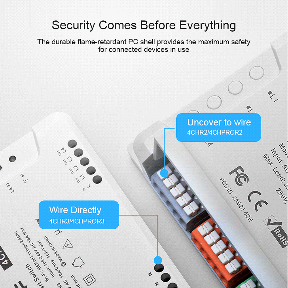 SONOFF 4CH Pro R3 Wireless Multi-channel WIFI Switch For Smart House Home Automation Module Controller 433mHz Remote Control