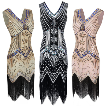 Women Dresses 1920s Cocktail V Neck Beaded Fringed Sequin Deco Gatsby Inspired Flapper Dress Ladies Plus Size Dress