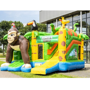Zoo Lovely Animal Monkey Inflatable Bouncy Castle with Water Slide Jumping Amusement Park Equipment Inflatable Castle Bouncer