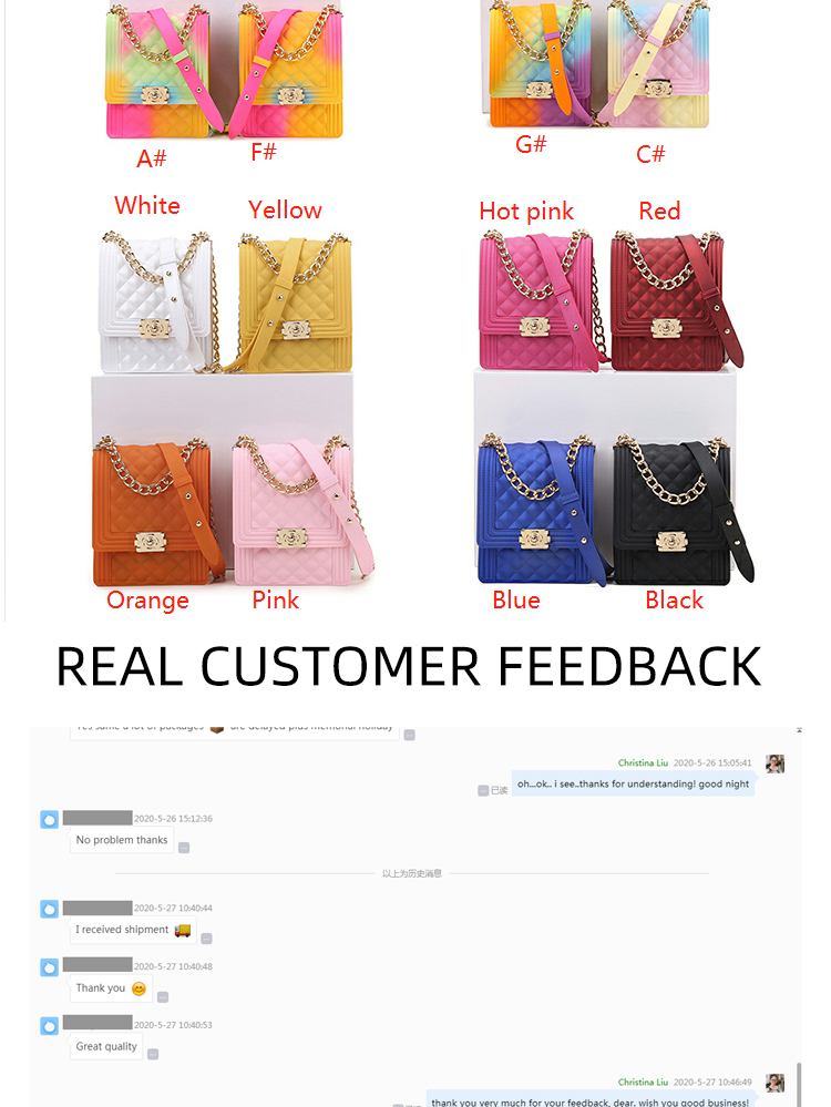 FB 2020 Ladies Luxury Hand Painting Multicolored Rainbow Small Candy Shoulder Bags for Women Purses Handbags Silicone Jelly Bag
