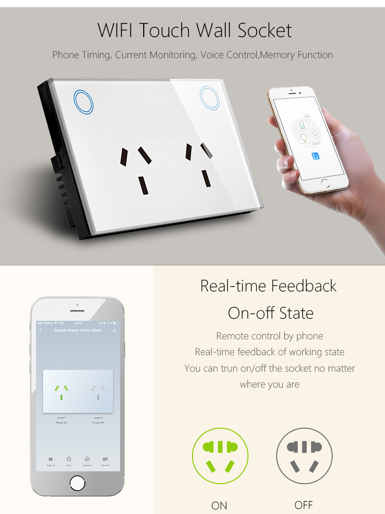WIFI Wall Socket Mobile APP smart life control double Power Point Alexa voice with glass touch panel outlet SAA Certificate
