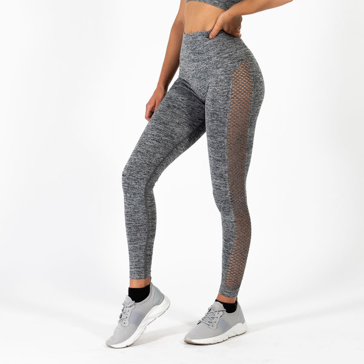 Stilvolle Frauen Mesh Panel Atmungsaktiv Scrunch Butt Leggings Nicht Pilling Belüftung Polyester Spandex Compression Yoga Hosen
