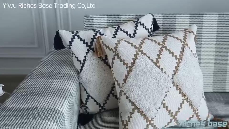 Оптовая продажа, декоративная хлопковая плетеная стеганая наволочка ручной работы с геометрическим рисунком для уличных диванов, стульев, диванов, постельных принадлежностей